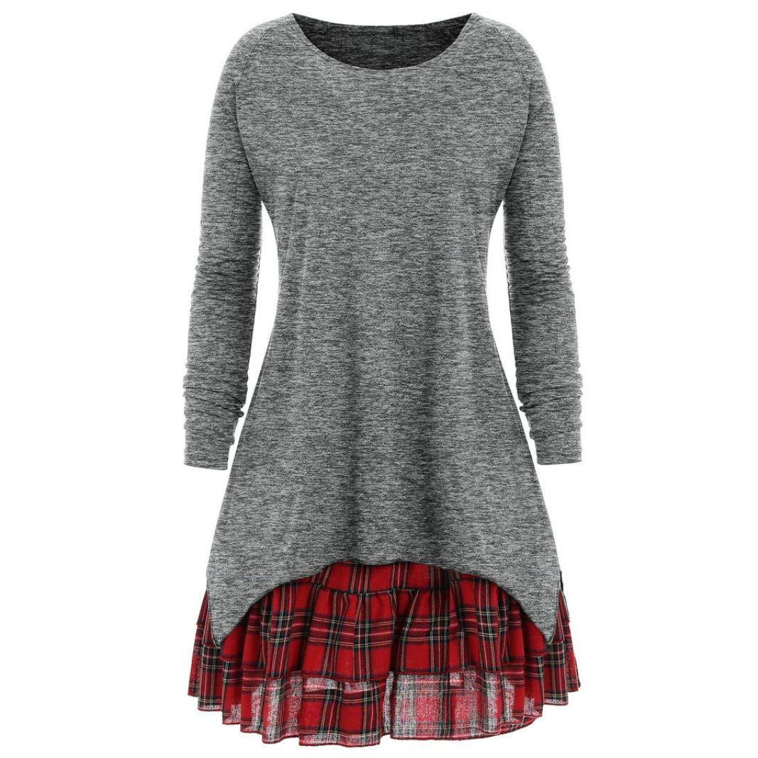 Nevera Women Casual Autumn Plus Size Plaid Dresses Skirt Long Blouse