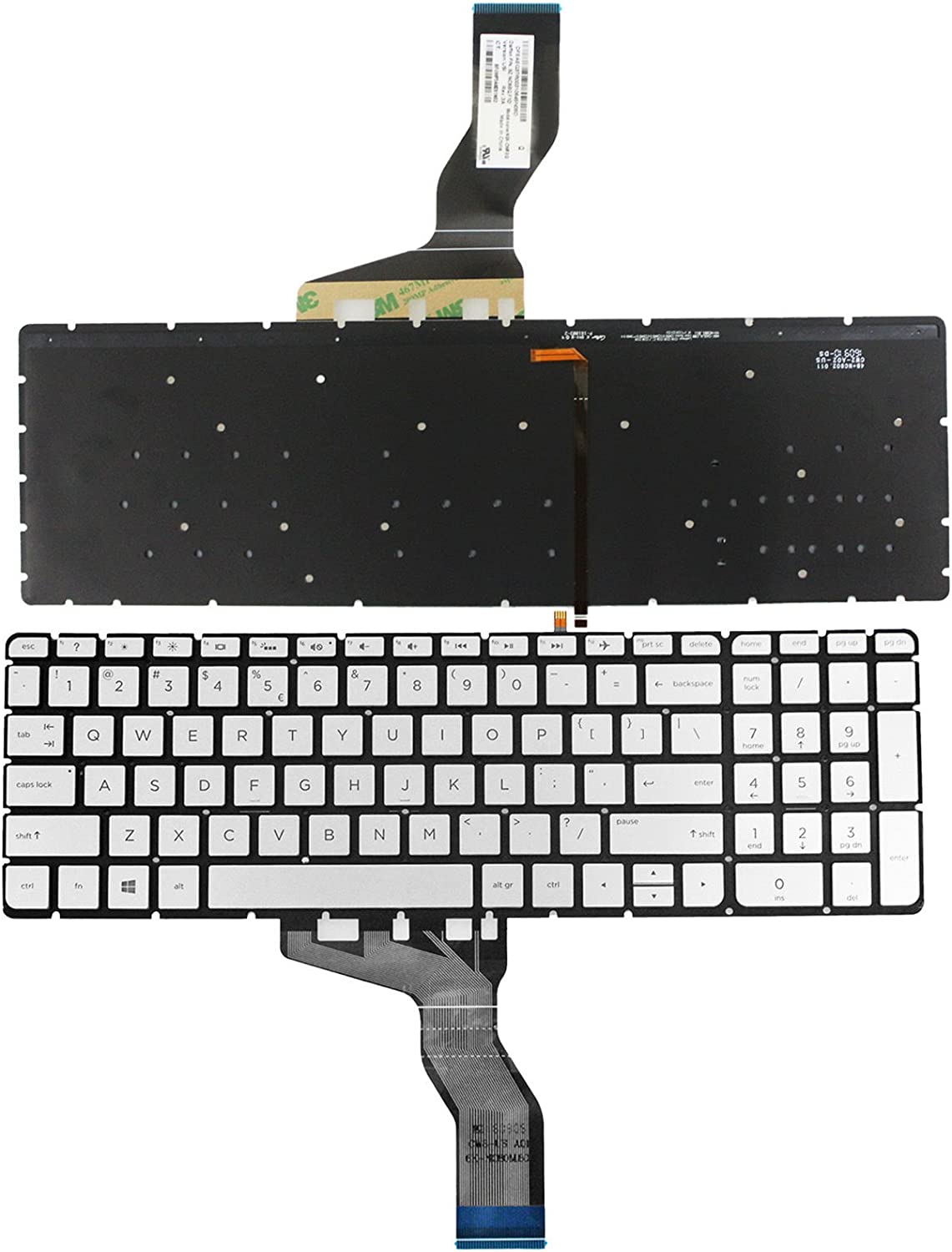 New US Silver Backlit Keyboard (Without Frame) Replacement for HP Envy m7-u m7-u000 17-u153nr 17-u011nr m7-u009dx m7-u109dx Light Backlight