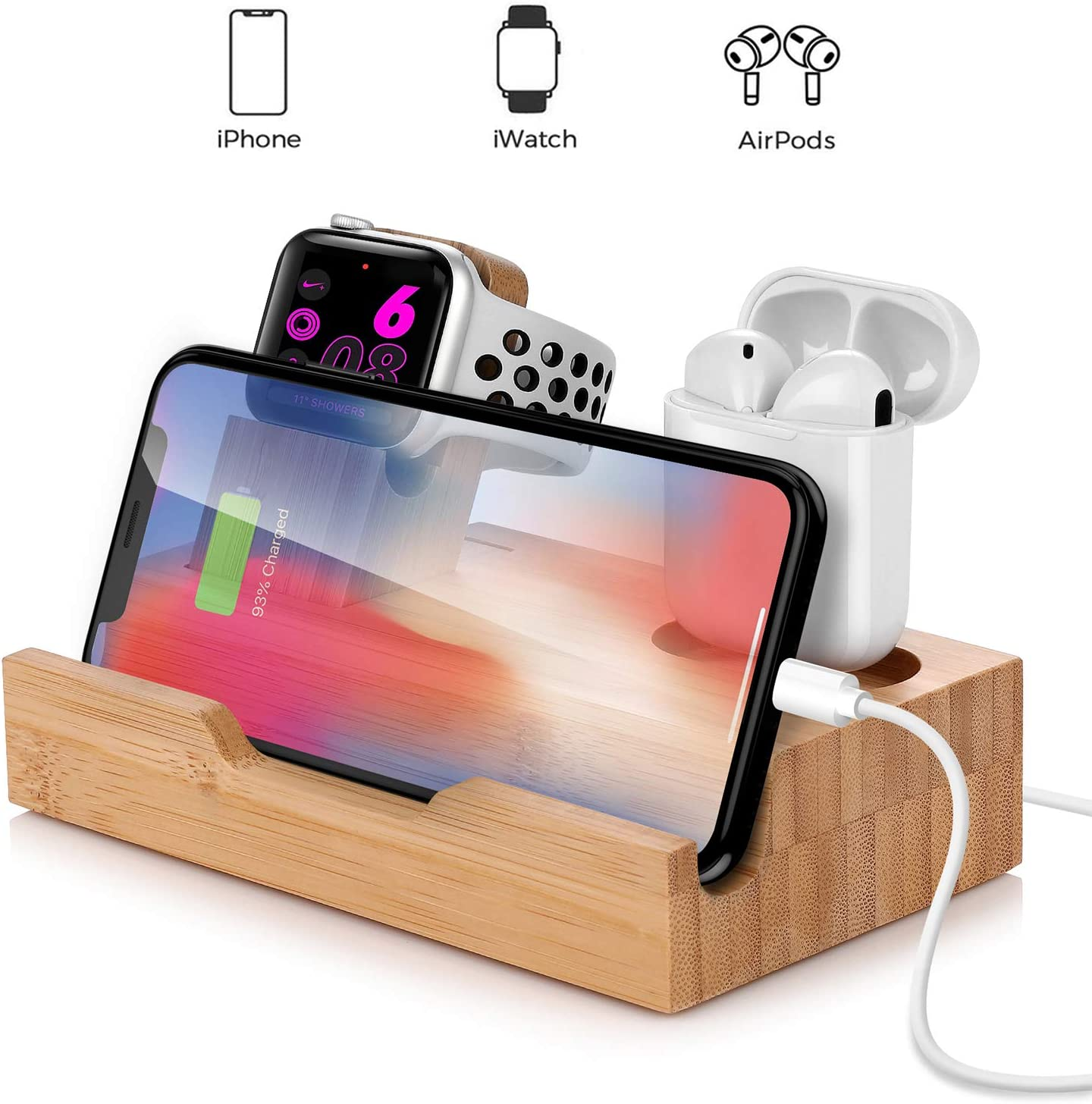 USB Charging Station for Apple Products,15 W Fast Charger Bamboo Dock Organizer Compatible with iPhone 11 Pro Max / 11 / XS / 8,Charging Stand Replacement for Apple Watch Series 4/3/2/1 and AirPods