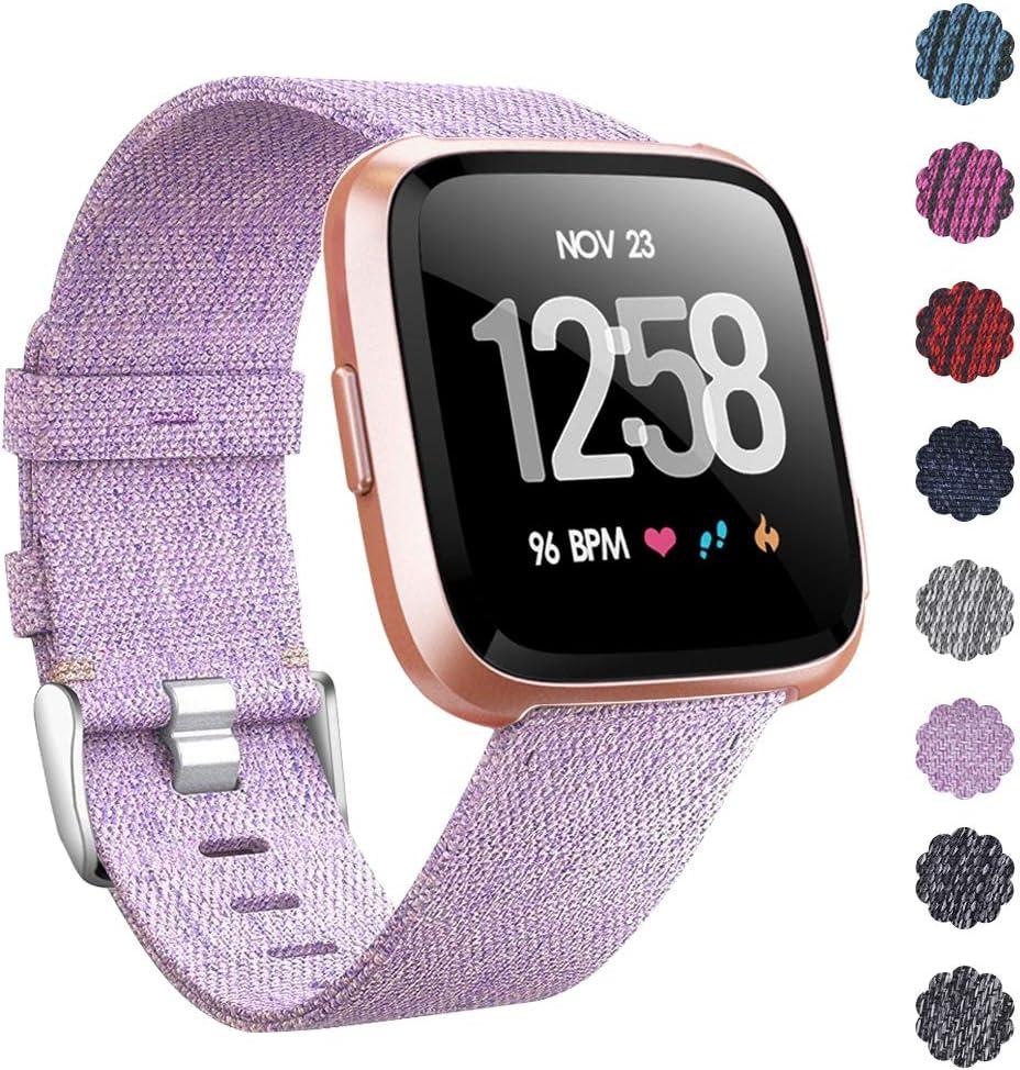 CAVN Fitbit Versa Correa Tejida, Correa de Repuesto Fitbit Versa para Mujeres Hombres de Liberación Rápida Correa de Reloj con Cierre Ajustable de Metal Inoxidable para Fitbit Versa Reloj Inteligente
