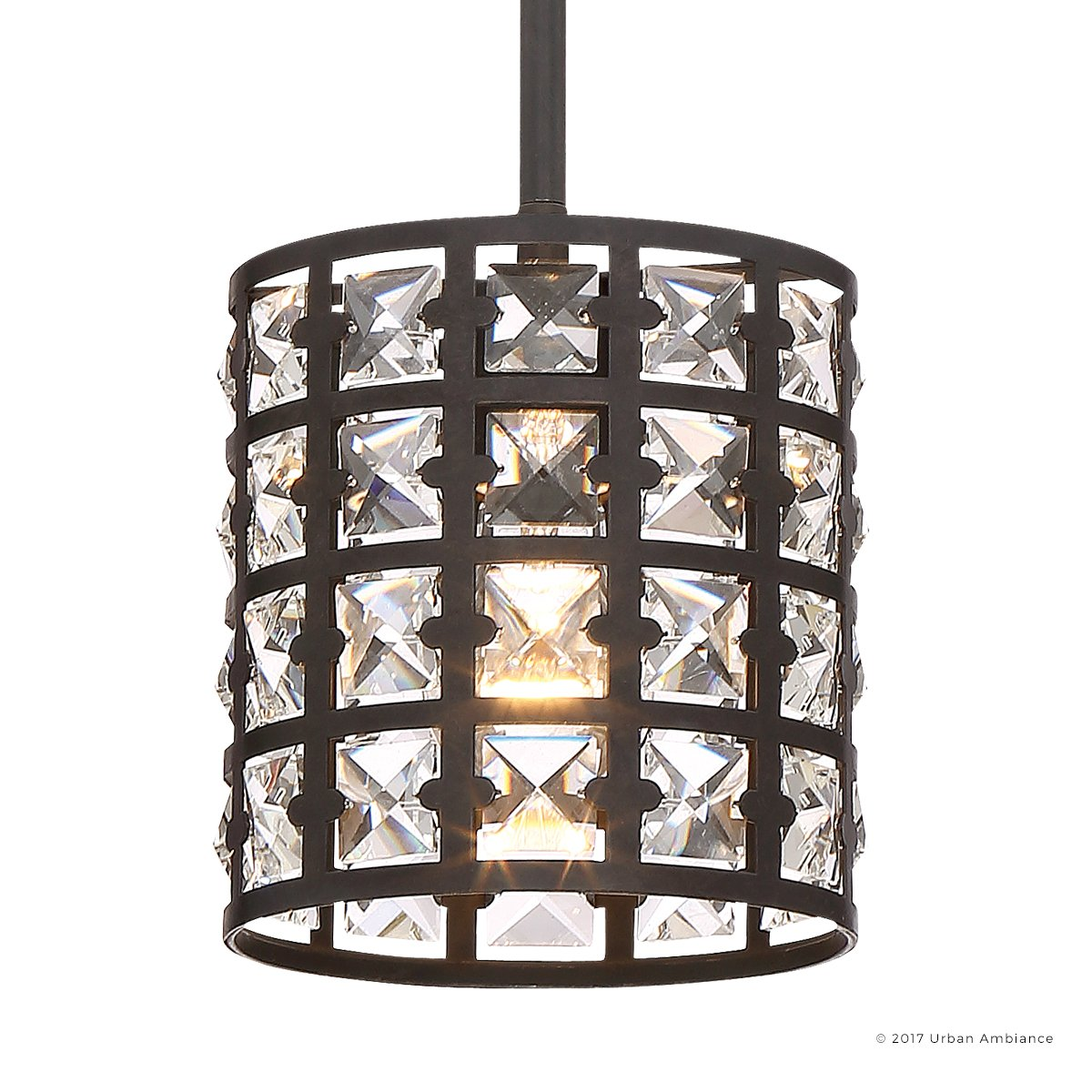 Luxury Crystal Hanging Pendant Light, Small Size: 7.5''H x 6.5''W, with Metropolitan Style Elements, Drum Design, Royal Bronze Finish and Suspended Square Crystal Shade, UQL2464 by Urban Ambiance