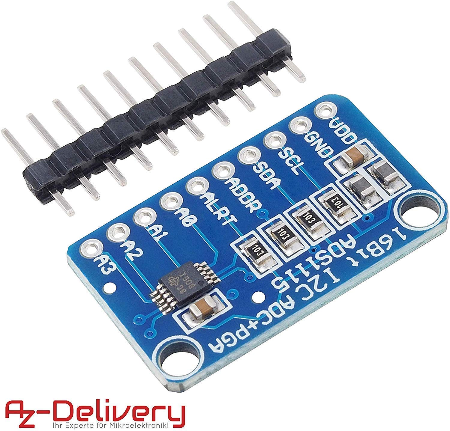 AZDelivery ADS1115 ADC Module 16bit 4 Channels for Arduino and Raspberry Pi