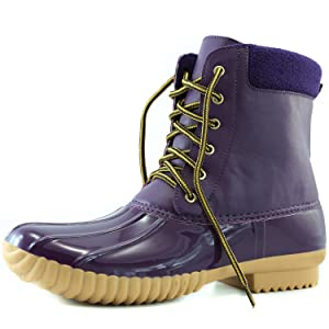 Women's DailyShoes Warm Snow Booties Lace Up Ankle High Cashmere Collar Duck Padded Mud Rubber Rain boots Purple 9 B(M) US