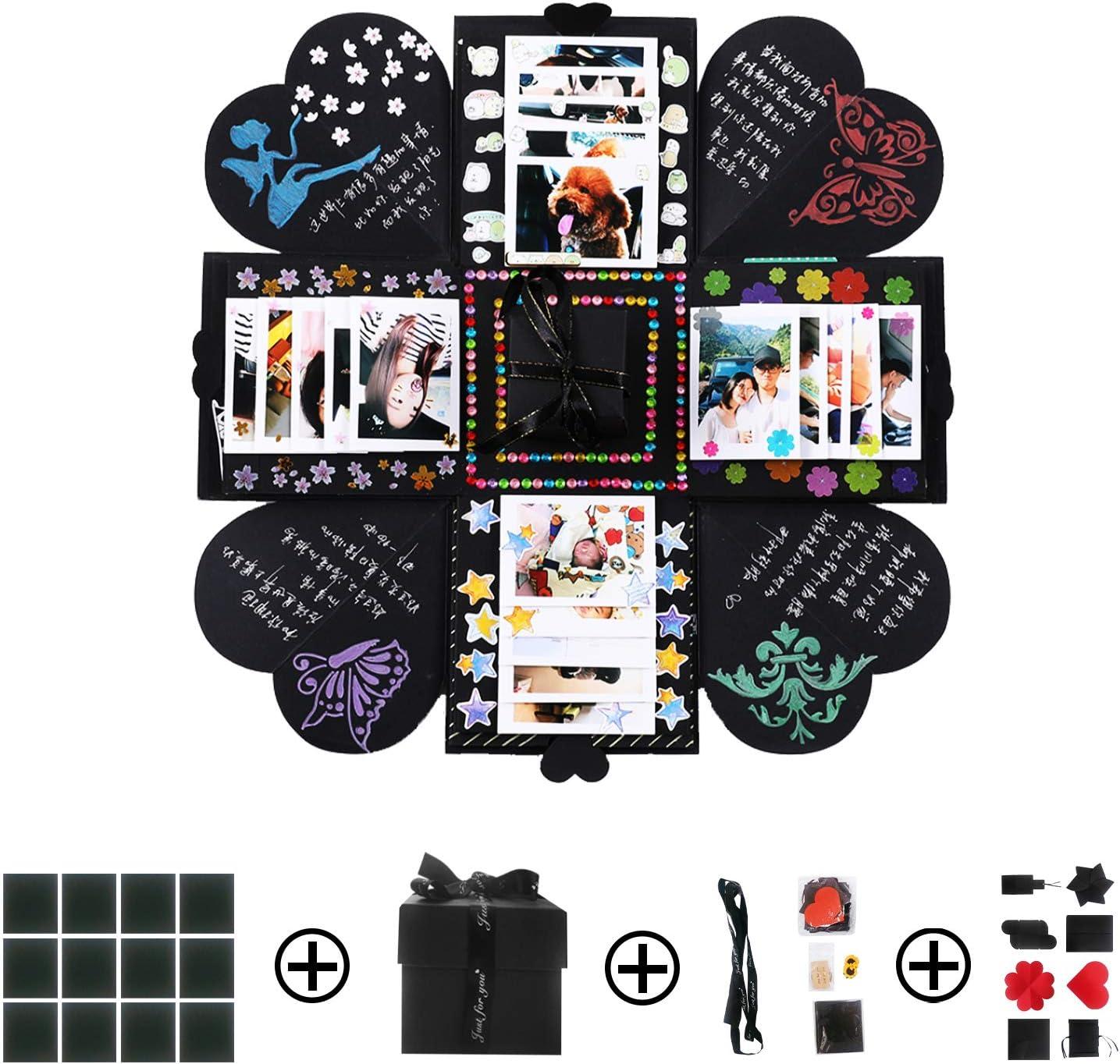 Caja de Explosión Creativa, PTNeu Caja de Regalo, Explosion Box 6 Caras, DIY Álbum de Fotos Scrapbook Caja para Hombres Mujeres Amiga Cumpleaños, San Valentín, Aniversario, Boda