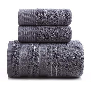 ANSODT Toalla de baño + 2 Toallas Hotel Conjunto Conjunto de 3 algodón Adulto hogar Suave Absorbente, Gris: Amazon.es: Hogar