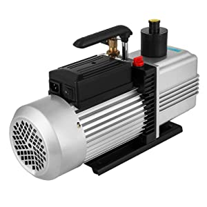VEVOR Rotary Vane Vacuum Pump 12CFM 1HP Double Stage HVAC Auto AC Refrigerant Air Vacuum Pump Wine Degassing Milking Medical Food Processing Air Conditioning Vacuum Pump (2-Stage, 12CFM)