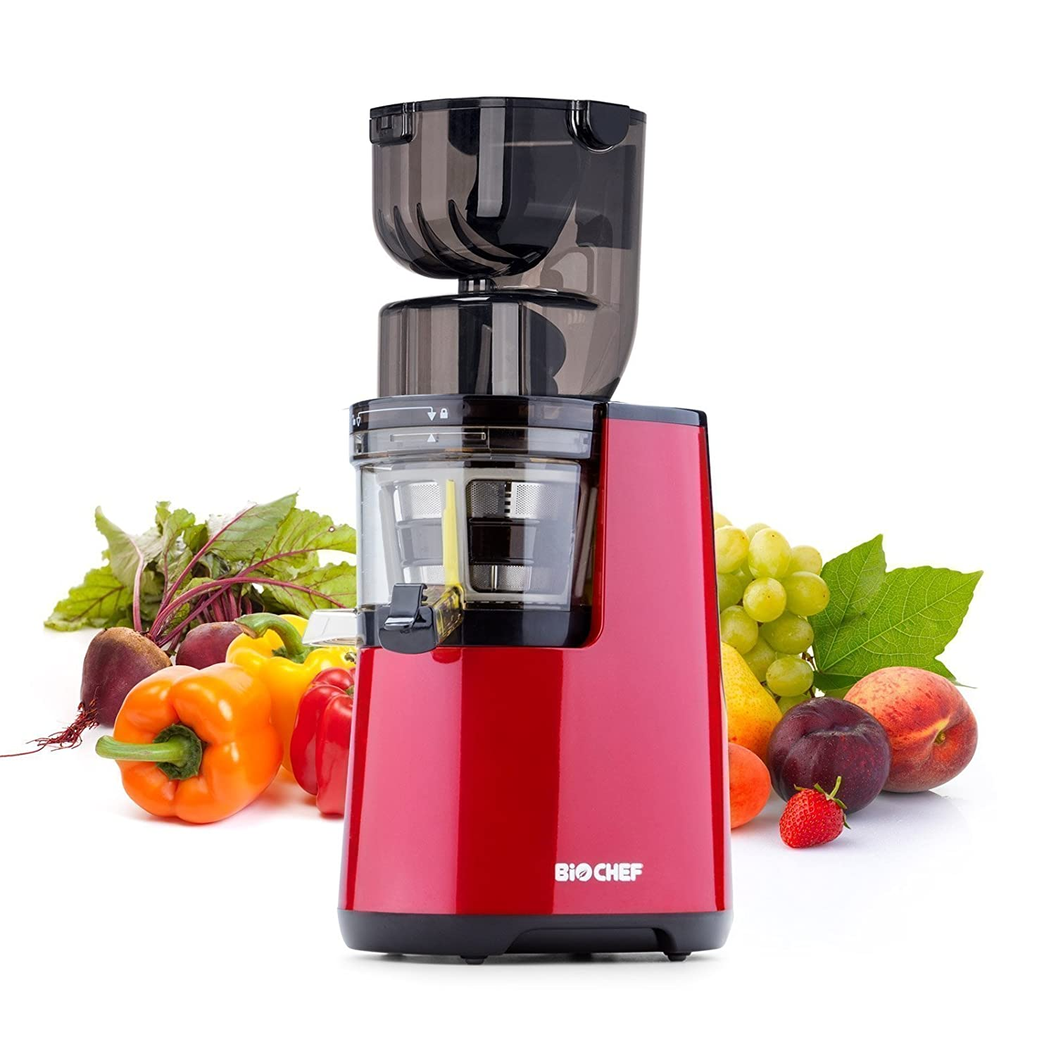 BioChef Atlas Whole Slow Juicer PRO - 300W / 45 RPM, Wide Feed Juicer, Masticating Cold Press Juicer - LIFETIME Motor Warranty (Red)
