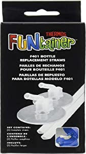 Thermos Replacement Straws for 12 Ounce Funtainer Bottle, Clear,3 Pack