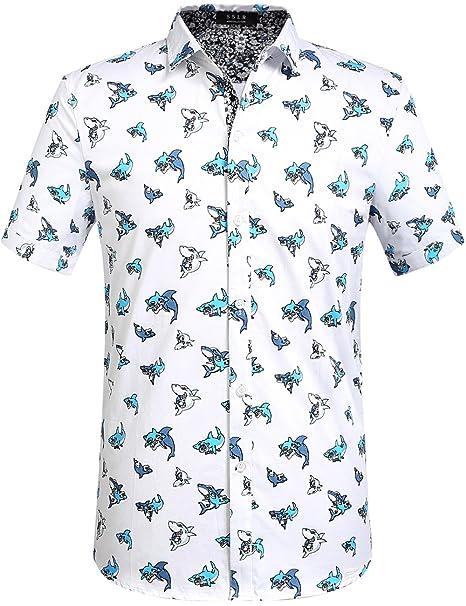 e2595e93ab Camisa de manga corta SSLR de hombre con estampado de tiburón. - Blanco -    Amazon.es  Ropa y accesorios