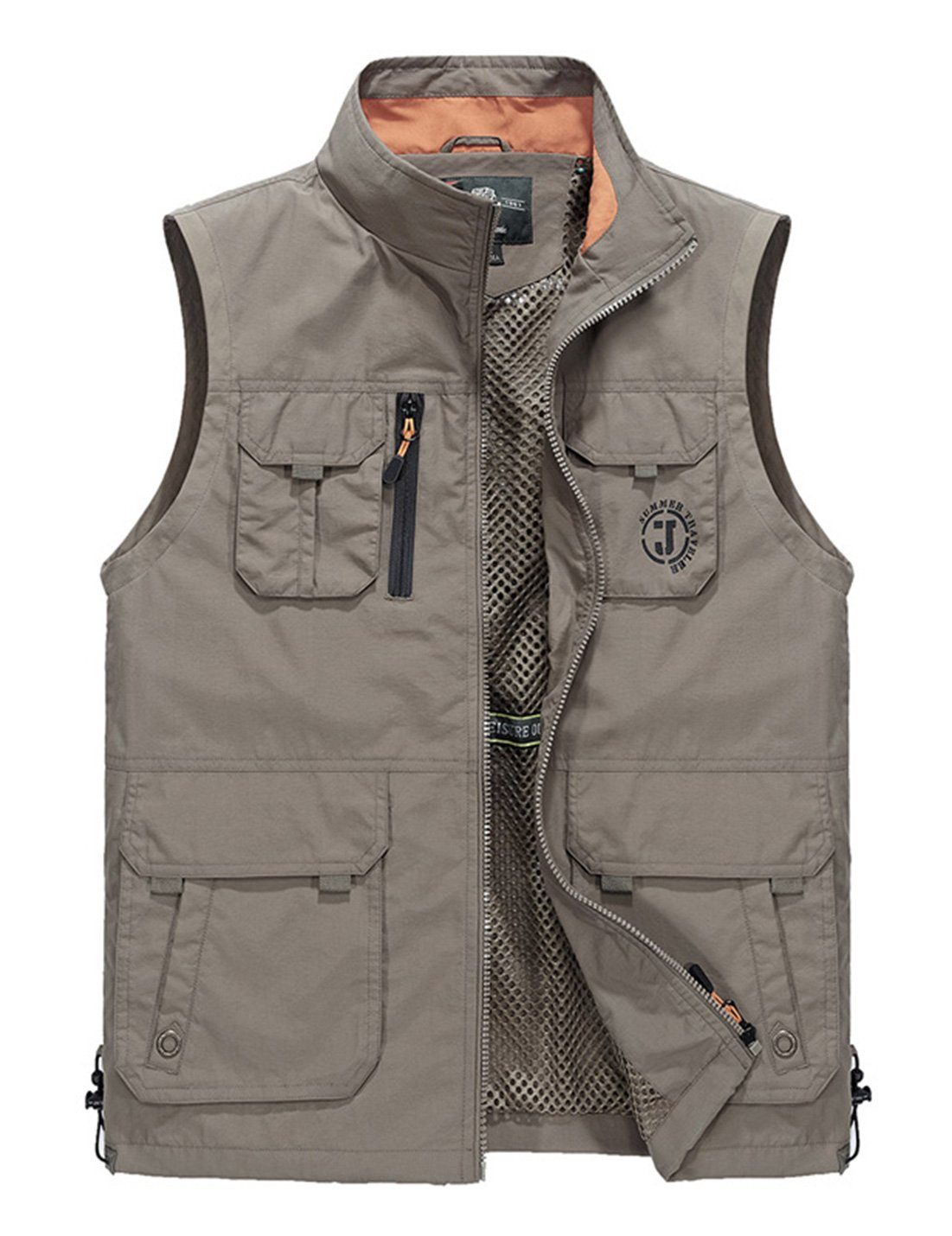 Gihuo Men's Lightweight Quick Dry Outdoor Multi Pockets Fishing Photo Journalist Active Vest Gilet (X-Large, Style2-Khaki) by Gihuo