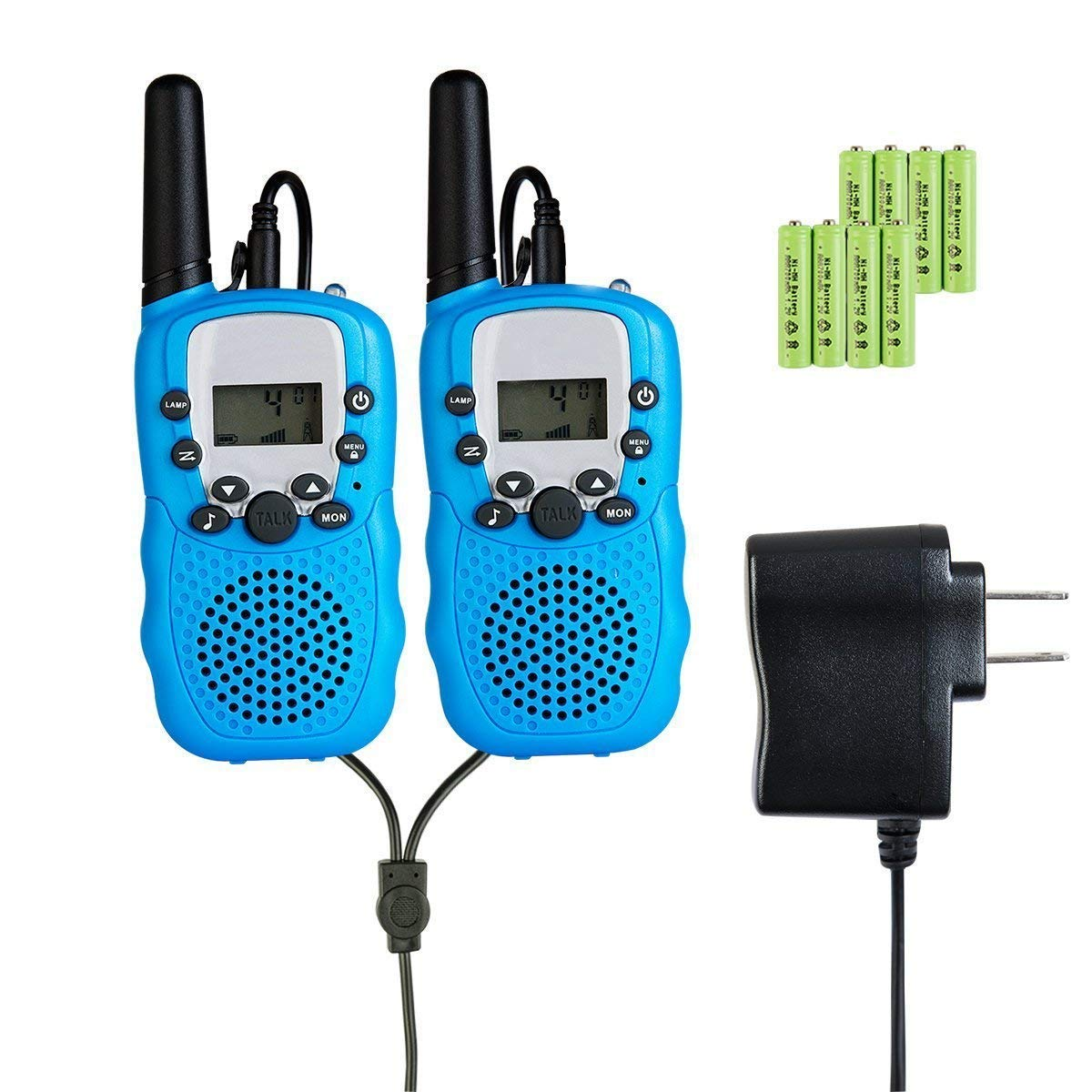 Rechargeable Walkie Talkie, Easy to use Two Way Radios, Best Gift 22 Chanels Long Range Cool Vox Walky Talky for Camping Hiking Fishing Toys with Batteries and Charger (Blue) by GZL (Image #1)