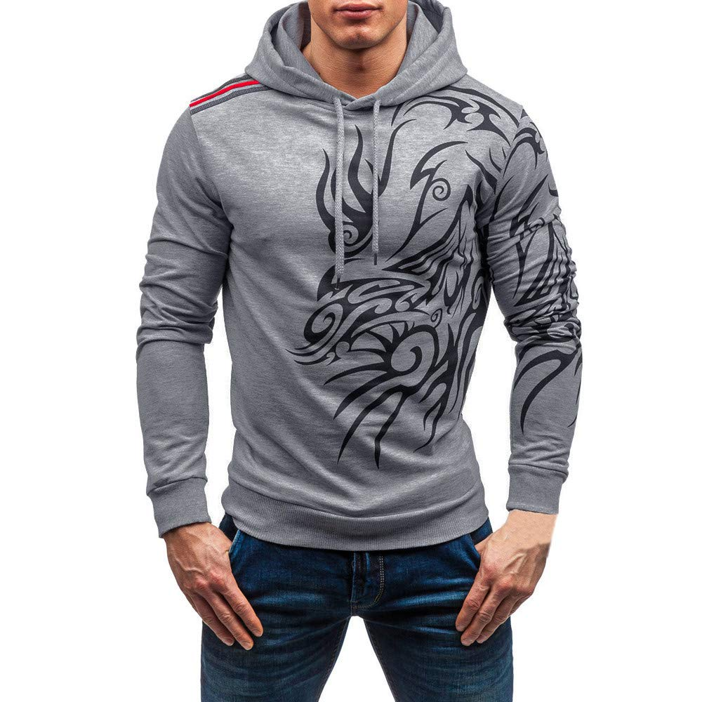 Clearance!Casual Men's Print Totem Fashion Bars Hood Long Sleeve Hooded Sweatshirt Tops Blouse minRan minRan0911