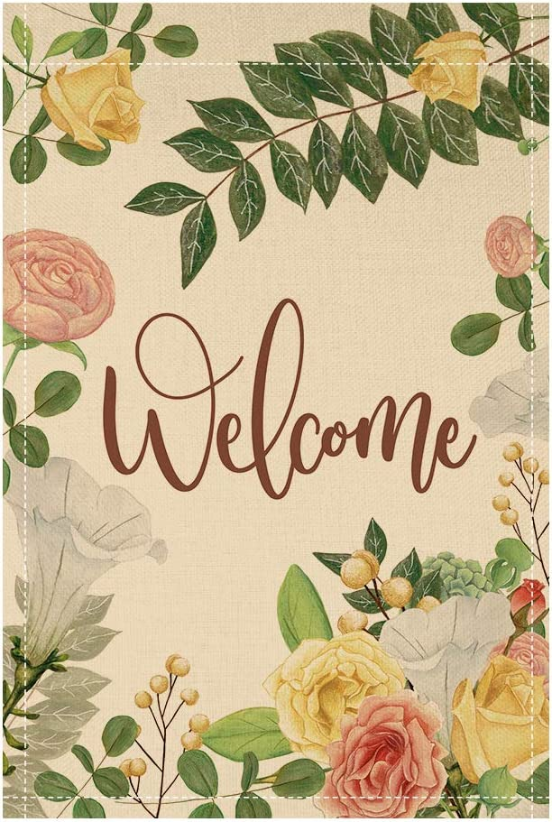 QSUM Double Sided Burlap Welcome Garden Flag, Premium Material, Seasonal Spring Summer Outdoor Funny Decorative Flags for Garden Yard Lawn Rustic Farmhouse,12 x 18 Inch (Flower)