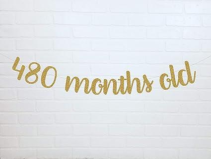 Amazon.com: Banderín de cumpleaños para adultos de 480 meses ...