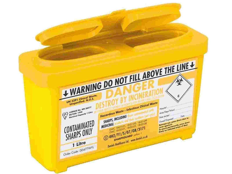 Sharpsguard Bin, 1 Litre, Yellow, Pack of 2