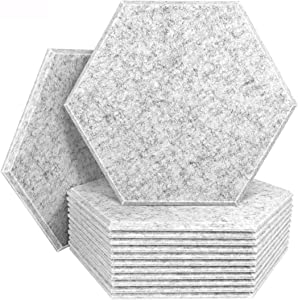 DEKIRU 12 Pack Acoustic Panels Sound Proof Padding, 14 X 13 X 0.4 Inches Sound Dampening Panels Used in Home & Offices(Hexagon,Grey)