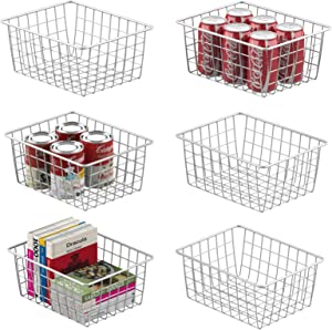 Wire Storage Basket, Veckle 6 Pack Metal Wire Baskets for Storage Pantry Organizer Storage Bin Baskets with Handles for Kitchen Cabinets, Pantry, Bathroom, Countertop, Closets, White