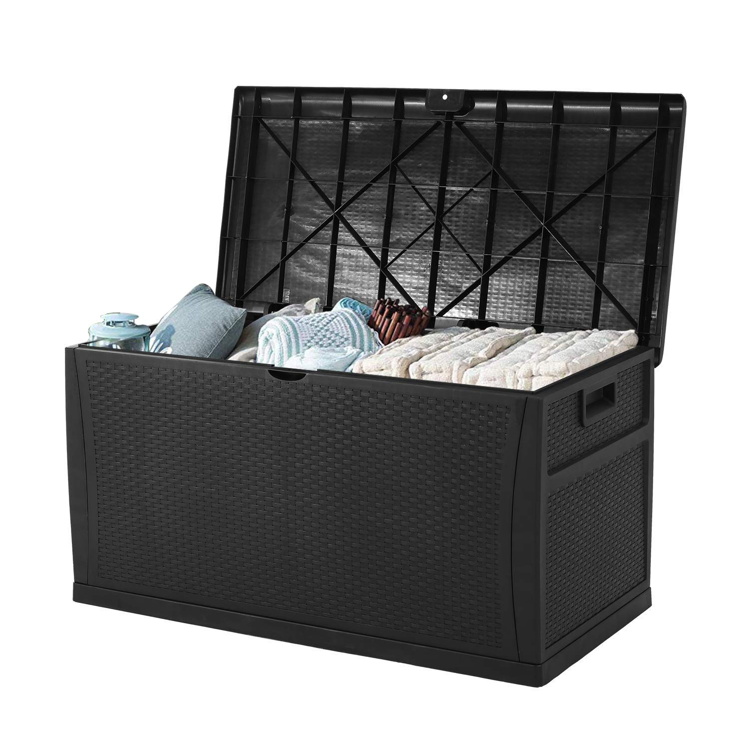 INTERGREAT Patio Deck Box Outdoors Waterproof Storage Backyard Furniture Rattan Container Cabinet 120 Gallon Black
