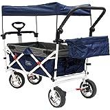 Creative Outdoor Distributor Push Pull Wagon for Foldable with Sun/Rain Shade (Navy)