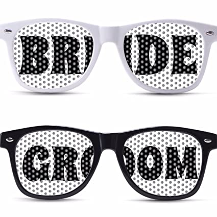 55d1a9ca34d Image Unavailable. Image not available for. Color  BRIDE AND GROOM custom  wedding party glasses for weddings celebration wedding sunglasses