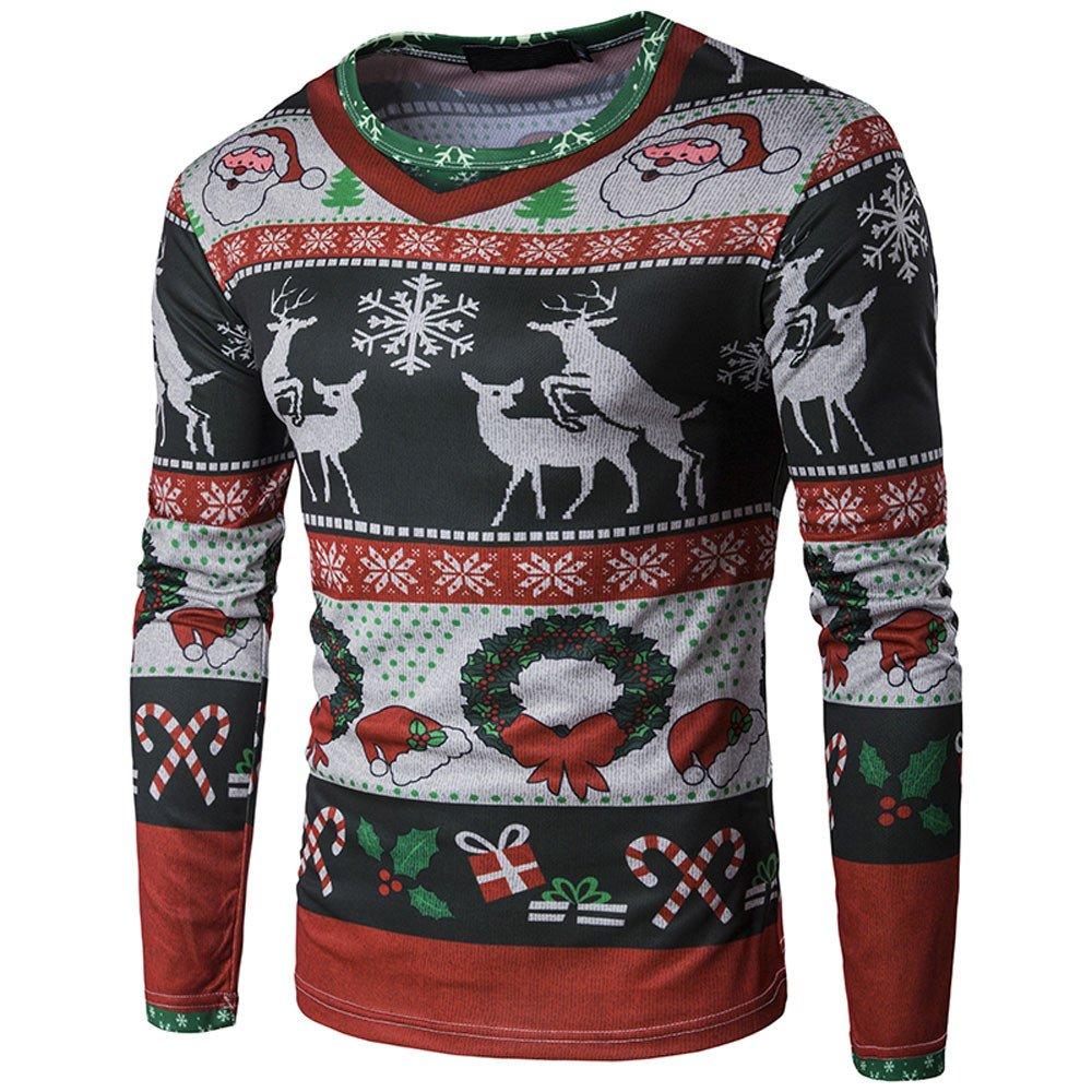 T-Shirt da Uomo a Maniche Lunghe T-Shirt da Uomo T-Shirt da Uomo con Stampa di Natale,YanHoo Maglie a Manica Lunga da Uomo, Felpe da Escursionismo da Uomo,Abbigliamento da Pallamano S/M/L/XL Magliette Uomo-YanHoo