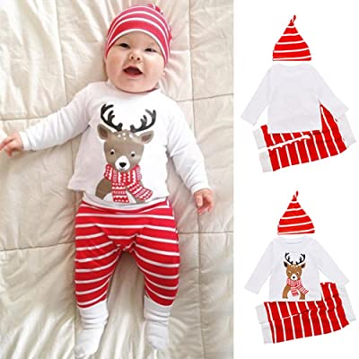 b3a485a5f66 preliked Baby Girls Boy Deer Long Sleeve Tops T-Shirt Striped Pants Hat 3pcs  Outfits Set