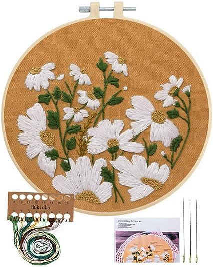Jar for Nuts,Simple Cross Stitch Jar Sticker Embroidery Modern Mini Cross Stitch kit Almond Nuts Print Hand Embroidery Kit for Beginners