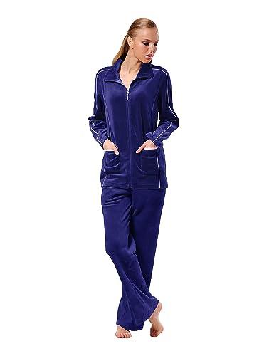 Raikou Hausanzug Damen Freizeitanzug Velours Nicki Schlafanzug Nicki-Anzug mit Samt Jogginganzug Trainingsanzug mit Reißversc