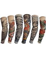 HaimoBurg 6 Stück Temporäre Gefälschte Slip Tattoo Sleeves Arm Strümpfe (U)