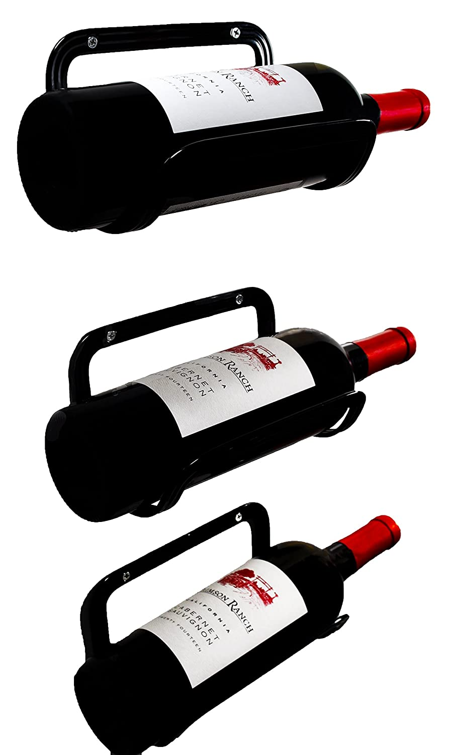 Mango Steam Wall Mounted Wine Rack, Set of 3, Black (Mounting Hardware Included)