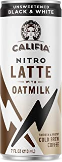 product image for Califia Farms - Nitro Cold Brew Coffee, Oat Milk Latte - Unsweetened Black & White - 7 Oz (12 Cans) | Shelf Stable | Iced Coffee On-the-Go | Clean Energy | Dairy Free | Gluten Free | Plant Based
