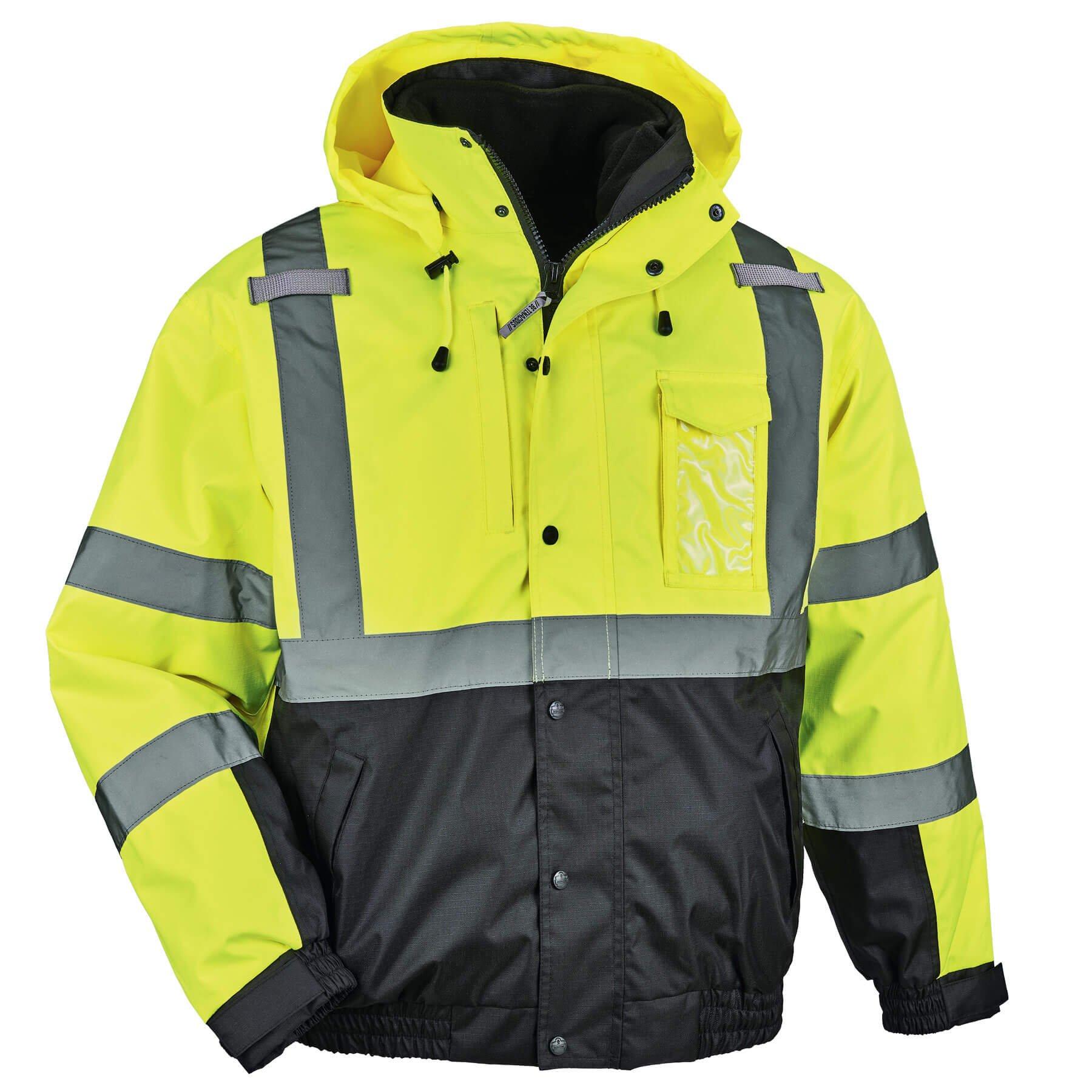 Ergodyne GloWear 8381 High Visibility Reflective Bomber Jacket with Zip-Out Black Fleece, Large, Lime