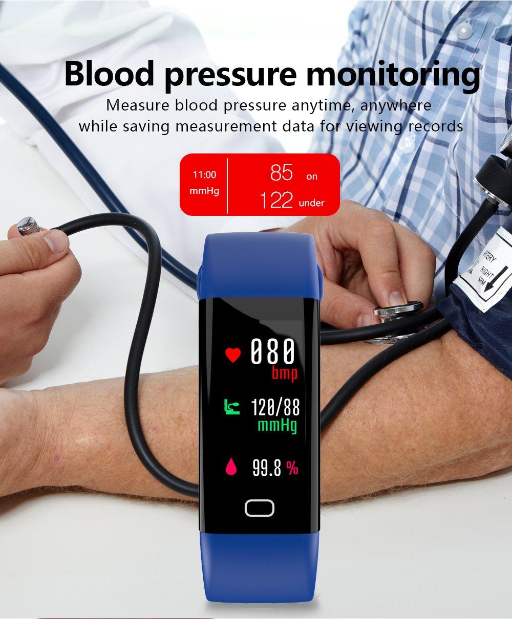 Fitness Tracker, idoosmart presión de oxígeno en sangre pulsera de seguimiento de actividad Monitor de frecuencia cardiaca, IP68 impermeable inteligente, ...