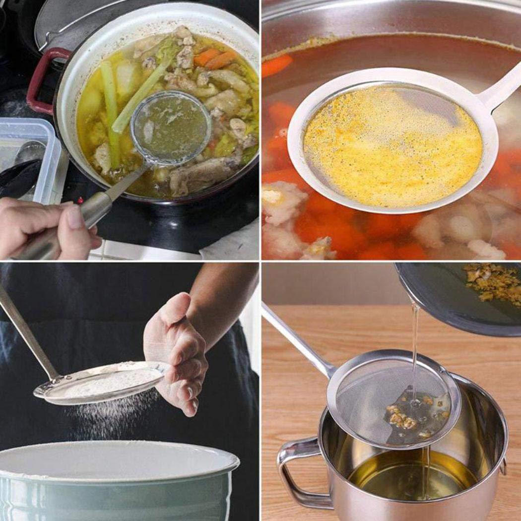 Minlop Edelstahl Küchensieb Feinmaschig Engmaschiger Seiher Feines Edelstahlnetz von Sieben, Abtropfsieben und Seihern, für Quinoa mit Bequemen Rutschfesten Griffen Geschaffen