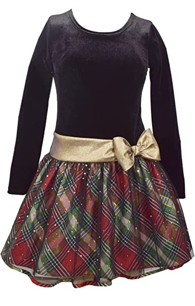 c02ff5cc0efe Amazon.com: Bonnie Jean Girls Plaid Sparkle Gold Bow Hipster Dress: Clothing