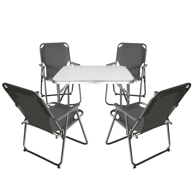 Wohaga Balkonmöbel Campingmöbel Set 5tlg. Aluminium Klapptisch 55x75cm + 4X Campingstuhl, Stone - Sitzgruppe Campinggarnitur Gartenmöbel