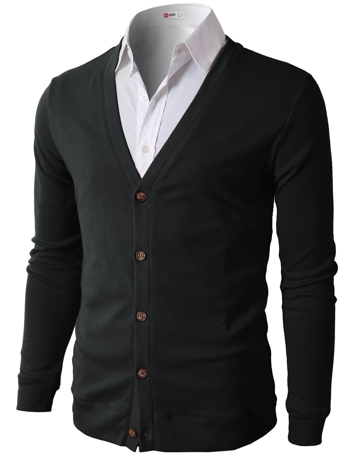 H2H Mens Slim Fit Light Weight V-Neck Cardigan Black US M/Asia L (CMOCAL025)