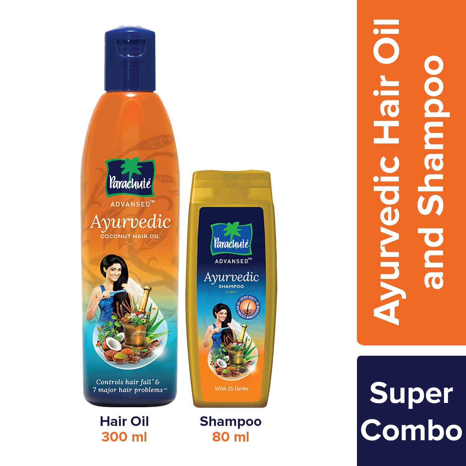 Parachute Advansed Ayurvedic Hair Oil, 300 ml & Shampoo, 80 ml (Controls Hair Fall)