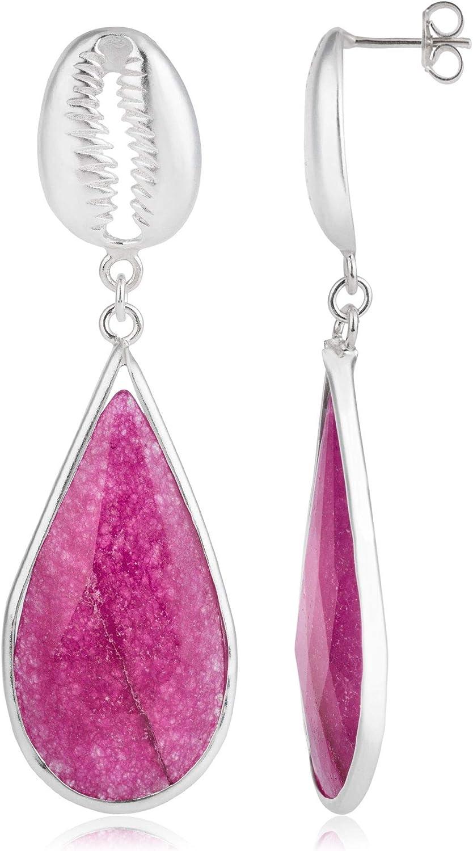 Córdoba Jewels | Pendientes en plata de ley 925 con piedra semipreciosa con diseño Lágrima Concha Frambuesa Silver