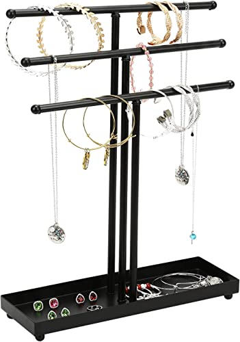 Bracelet Display Stand Earring Necklace 3 Tier 24 Pair Black Jewelry Organizer