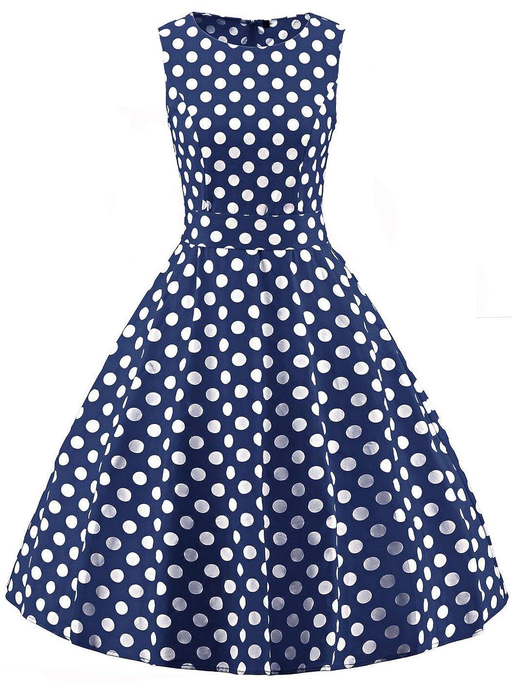 TALLA 4XL. FAIRY COUPLE 50s Vestido de Partido Floral Retro del Oscilación del Cóctel del Vintage con el Arco DRT017 Azul Marino Puntos Blancos 4XL