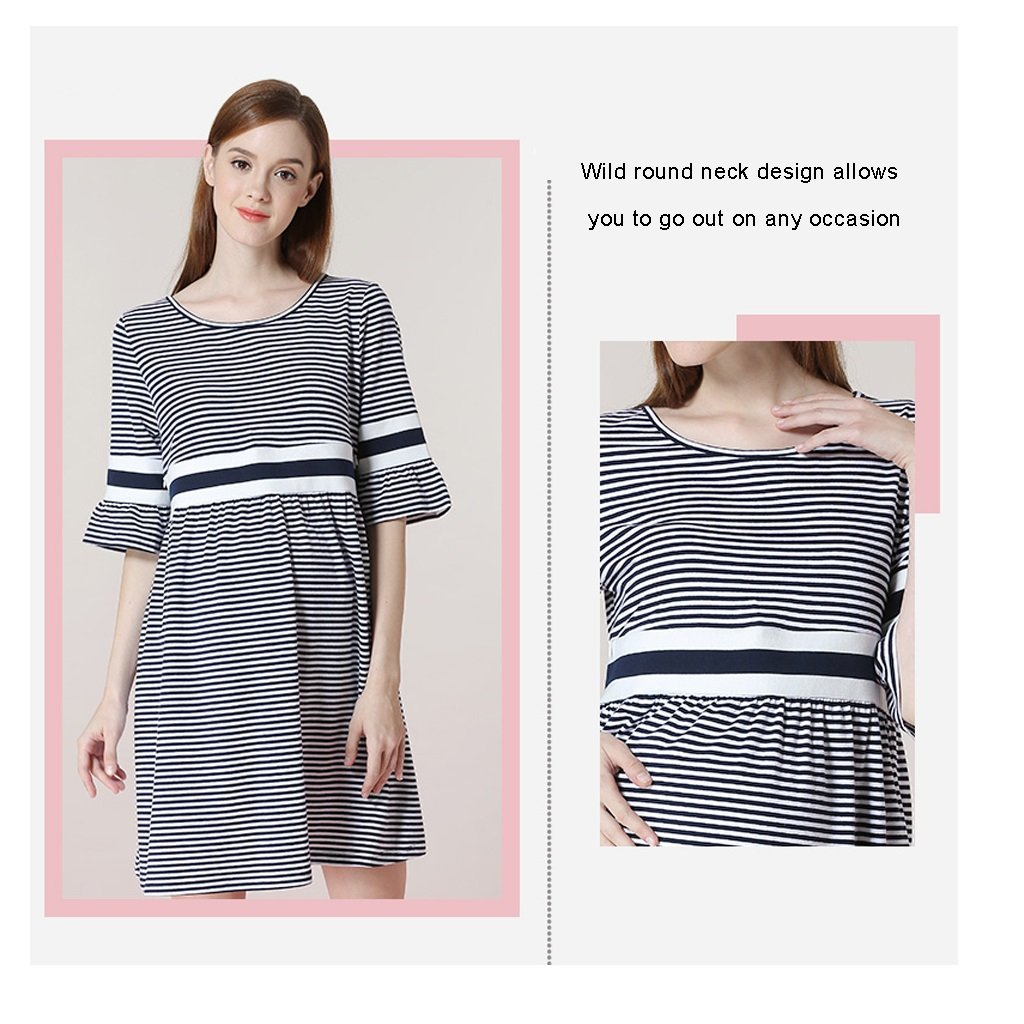 Vestido de algodón para embarazadas se puede usar antes y después del parto en primavera y verano diseño de funciones de lactancia cómodo y práctico (Size ...