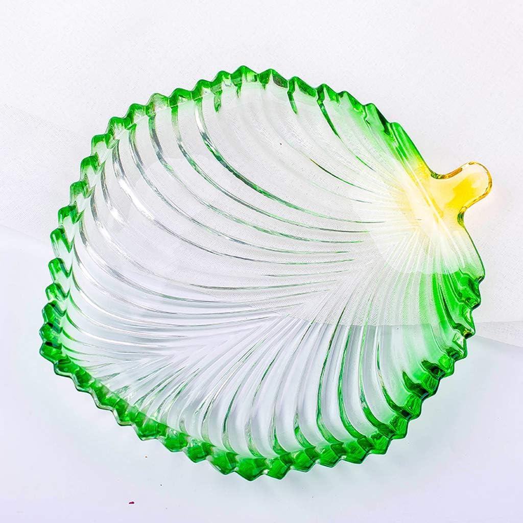 20x16.5x2.5cm QLTY Blattf/örmiger Obstteller,Glas obstschale,Obstschalen Obstgericht,geeignet f/ür Haushaltsobstteller Snackplatte Bonbonteller Dessertteller