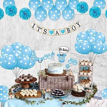 Ideas De Decoraciones Para Baby Shower De Nino.Amazon Com Baby Shower Decoracion Kit De 26 Piezas Baby