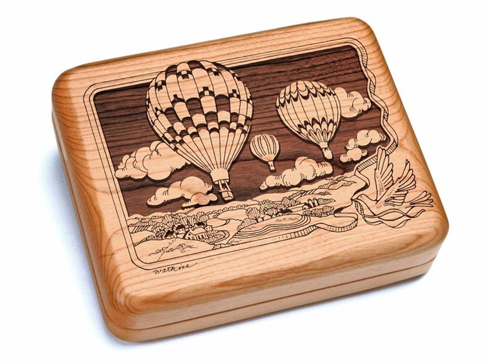 6x5'' Box With Double Pocket Knives - Hot Air Balloons