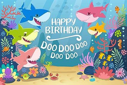 GYA Cartoon Cute Shark Happy Birthday Theme Backdrop For Photography Under The Sea Party Background