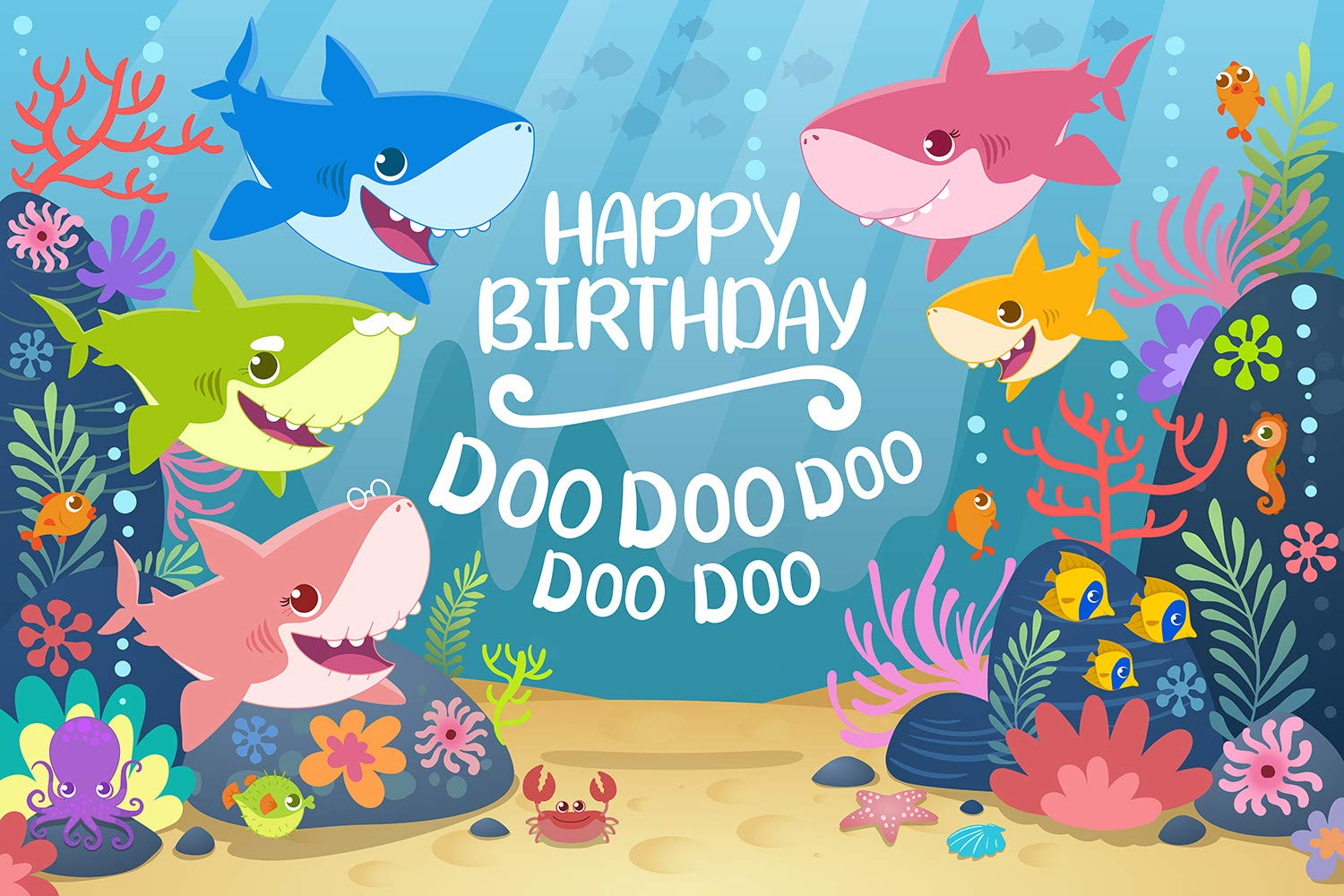 Daniu Cartoon Shark Backdrop Blue Ocean Shark Birthday Party Baby Shower Background Baby Shark Party Supplies Baby Shark Banner Photography Backdrops Photo Studio Props 7x5FT 210cmx150cm