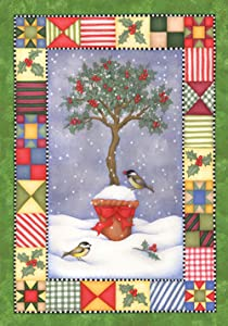 Toland Home Garden Holly Topiary 28 x 40 Inch Decorative Colorful Winter Holiday Tree Bird Quilt Design House Flag