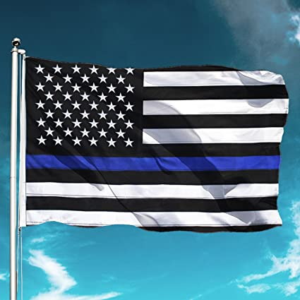 2cb680b37d8b Image Unavailable. Image not available for. Color  Kimifly Thin Blue Line  Flag 3x5ft Nylon Embroidered Stars Sewn Stripes American ...