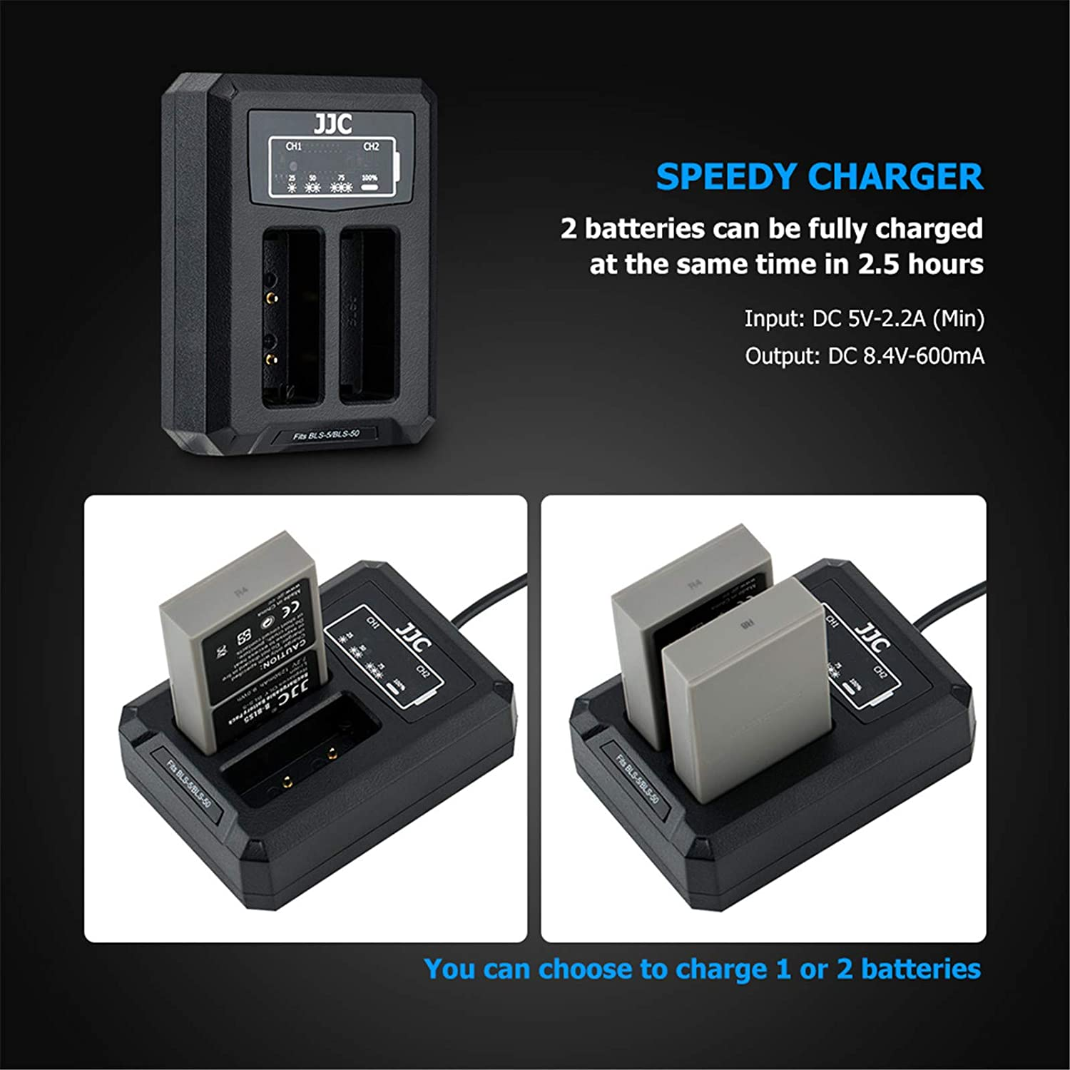 2in1 Dual USB Charger for Olympus PS-BLS1,PS-BLS5,BLS-5,BLS-50,BLS50